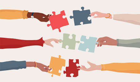 Cooperation and collaboration concept. Hands holding a jigsaw puzzle piece which joins another puzzle piece. Communication between different people. Arms of multiethnic people. Team. Banner