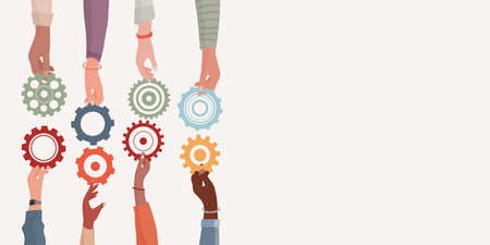 Banner. Concept teamwork and cooperation between colleagues. Problem solving metaphor. Diverse people's arms and hands holding one gear that fits into other cogwheel. Sharing. Community