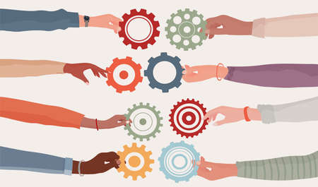 Cooperation teamwork and collaboration concept. Hands holding a gear that connects to another cogwheel Communication between diverse people. Diversity businesspeople. Community. Working