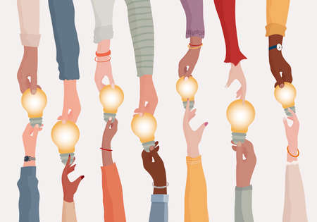 Brainstorming concept.Metaphor of diverse people proposing or sharing innovative ideas solutions and agreements.Collaborating colleagues or co-workers.Hands holding a light bulb.Teamwork 矢量图像