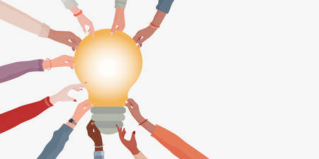 Concept problem solving. Hands of diverse and multi-ethnic people holding a light bulb. Innovative metaphor idea. Banner copy space. Teamwork. Agreements and business between colleagues 矢量图像