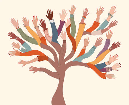 Group of hands of diverse and multi-ethnic people.Tree with branches made of human hands and arms.Community concept - racial equality - cooperation - friendship.Diversity people teamwork 矢量图像