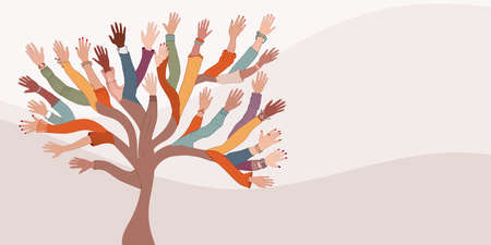 Group of hands of diverse and multi-ethnic people.Tree with branches made of human hands and arms.Community concept - racial equality - cooperation - friendship.Diversity people. Banner 矢量图像