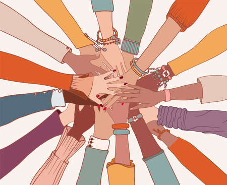 Group of arms and hands on top of each other in a circle of diverse multi-ethnic people.People of different cultures.Cooperation.Agreement between colleagues.Diversity people.Community 矢量图像