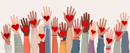 Arms and hands raised. Group of diverse people with heart in hand. Charity donation and volunteer work. Support and assistance. Multicultural and multiethnic community. People diversity 矢量图像