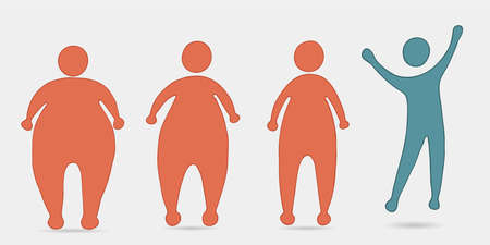 Concept of overweight and diet. Before and after silhouette sequence. How to lose weight. Progress in weight loss.From fat people to slim and fit people.Fitness for weight loss. Health