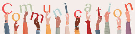 Arms raised of group of diverse multiethnic people holding letters in hand forming the word text communication.Community or teamwork.Communication and agreement between colleagues.Friends