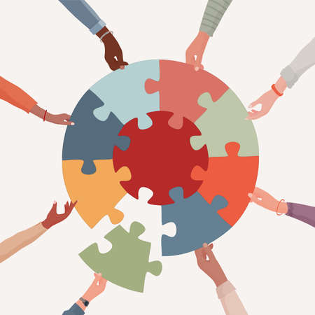 Missing link.Arms of hands of people or co-workers of diverse races holding jigsaw puzzle pieces that connect. Problem solving.Union and teamwork. Collaborating.Strategy.Match. Toy 矢量图像
