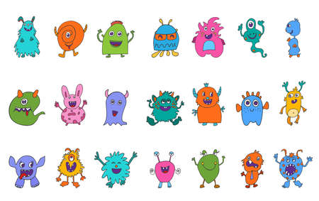 Cute character cartoon baby alien. Amusing baby beast. Bizarre and funny monster. Collection set isolated vector icons. Fantasy creatures.Funny colorful and hand drawn abominable beasts