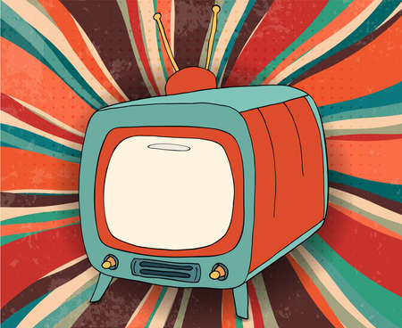 Concept broadcast motion picture - news - advertising - show - video.Hand draw comic old retro TV copy space screen.Vintage television with tube and antenna.Broadcasting. Communication