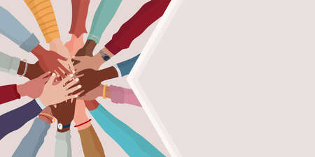 Group hands on top of each other of diverse multi-ethnic and multicultural people. Agreement or affair between a group of colleagues or collaborators. Teamwork community. Copy space banner