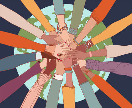 People diversity. Arms and hands on top of each other on the globe.People of diverse race culture ethnicity and country.Integration.Coexistence.Multicultural society. Agreement.Community
