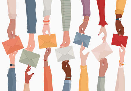 Arms of diverse people holding an email as a concept of electronic mail information and sharing online. Colleagues or co-workers or friends.Teamwork.Communication Stock Illustratie