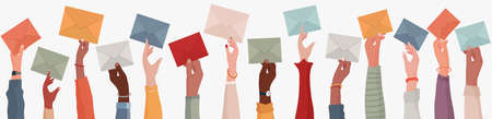 Group of multi-ethnic business people with raised arms holding an envelope. Colleagues or co-workers or friends. Email exchange.Share messages and information