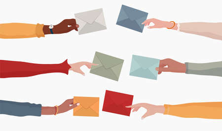 Arms and hands of multiethnic people holding an email as a concept of electronic mail information and sharing online. Send and receive messages. Colleagues or co-workers or friends. Team
