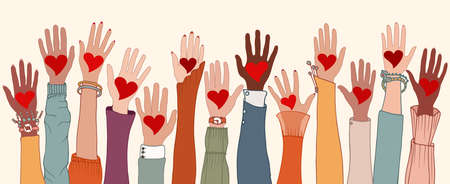 Arms and hands raised. Group of diverse people with heart in hand. Charity donation and volunteer work. Support and assistance. People diversity. Multicultural and multiethnic community