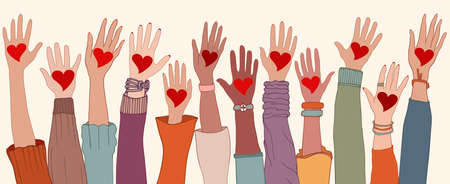 Arms and hands raised. Charity donation and volunteer work. Group of diverse people with heart in hand. Support and assistance. People diversity. Multicultural and multiethnic community Stock Illustratie