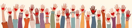 Large Group of diverse people with heart in hand. Arms and hands raised. Charity donation and volunteer work. Support and assistance. People diversity. Multicultural community. Teamwork