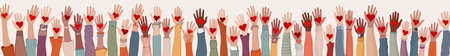 Large Group of diverse people with heart in hand. Arms and hands raised. Charity donation and volunteer work. People diversity. Support and assistance. Multicultural community. Teamwork Stock Illustratie