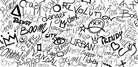 Graffiti symbol writing spray-ink-tag-splash-scribble. Street art. Modern hand draw grafiti style. Dirty artistic design elements and words. Underground. Grunge vector illustration