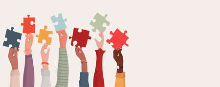 Group of multi-ethnic business people with raised arms holding a piece of jigsaw. Colleagues of different races and cultures. Cooperate and collaborate. Concept of teamwork and success Stock Illustratie
