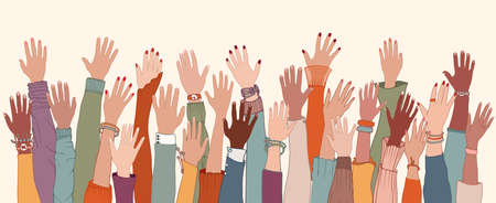 Group of diverse people with raised arms and hands.Work team.Support and assistance.People diversity. Multicultural and multiethnic community.Racial equality.Collaboration. Communication Stock Illustratie