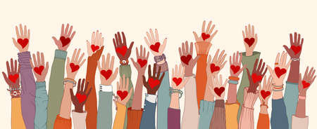 Group of arms and hands raised. Diverse people with heart in hand. Charity donation and volunteer work. Support and assistance. Multicultural and multiethnic community. People diversity