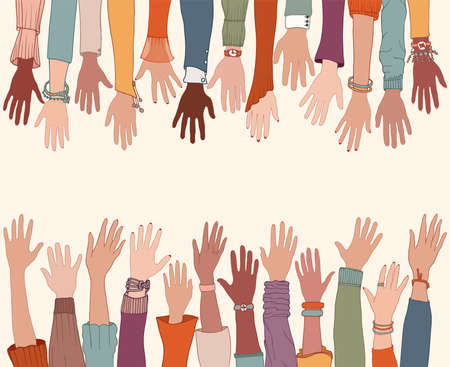 Group of raised arms and hands starting from below and meeting a group of raised hands starting from above. Charity donation and volunteer work. Copy space