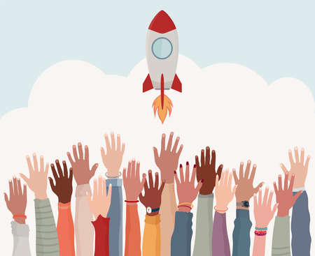 Group arms and hands raised as if to reach a goal. Colleagues collaborators or co-workers of diverse cultures.Realization and financial - working - investment growth.Strategy and success Stock Illustratie