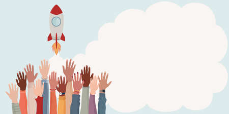 Group arms and hands raised as if to reach a goal. Colleagues collaborators or co-workers of diverse cultures.Realization and financial - working - investment growth.Banner copy space