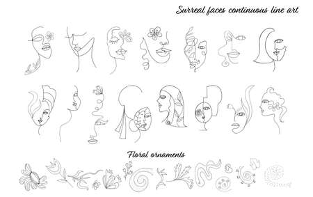 Abstract illustration set of female women faces in modern minimalist continuous line art style.Drawing. Beauty and fashion concept.Isolated surreal faces and portraits.Collection.Hand draw Stock Illustratie