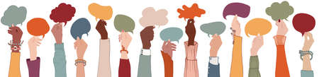 Group Raised arms multi-ethnic multicultural people holding speech bubble in hand.Diverse people talking chatting and sharing information on social.Diversity group people.Racial equality