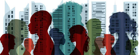Diverse multiethnic and multicultural people.Concept of society and diversity.Integration coexistence and harmony of peoples.Population of diverse culture.City and Buildings background Stock Illustratie