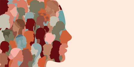 Banner copy space. Silhouette profile group of men and women of diverse cultures. Diversity multi-ethnic and multiracial people. Concept of racial equality and anti-racism. Multicultural