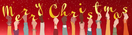 Raised arms of colleagues and co-workers diverse and multi-ethnic people holding letters forming the text -Merry Christmas- Banner happy Christmas holidays wishes.
