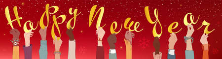 Arms raised of colleagues and co-workers diverse and multi-ethnic people holding letters forming the text -Happy New Year- New year greeting banner. Diversity people. Different cultures