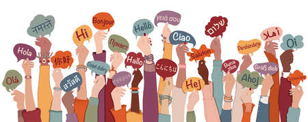 Many arms raised of diverse and multi-ethnic people holding speech bubbles with text -hallo- in various international languages. Diversity people, racial equality, sharing and collaboration
