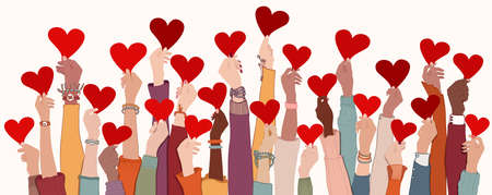 Group of raised arms and hands. Diverse people holding a heart. Charitable donation and volunteer work. Support and assistance. Multicultural and multiethnic community