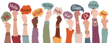 Raised arms and hands of multiethnic people from different nation country and continents holding speech bubbles with text -hallo- in various international languages.