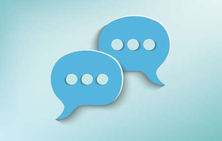 Two speech bubbles on celestial background. Concept of online customer service and advice chat. Social network. Communication and recommend via the web. Positive message. Community