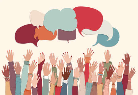 Anonymous arms and raised hands of multiethnic multicultural group people. Racial equality.Speech bubble.Crowd diversity people.Man and women of different races.Communication. Male female Иллюстрация