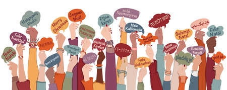 Many arms raised of diverse and multi-ethnic people holding speech bubbles with text -Merry Christmas- in various international languages. People diversity. Christmas greetings. Equality