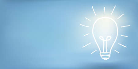 Banner with hand drawn light bulb and copy space on blue background.Concept of innovation - idea - creativity - invention - inspiration - imagination.Thinking concept. Electricity supply Иллюстрация