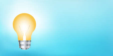Concept of innovation or idea or creativity or invention or inspiration or imagination.Banner with hand drawn light bulb and copy space on blue background. Thinking concept.Power supply