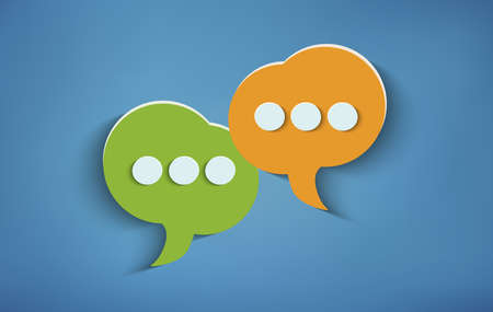 Concept of online customer service and advice chat. Two speech bubbles on blue background. Social network. Communication and recommend via the web. Positive message. Community