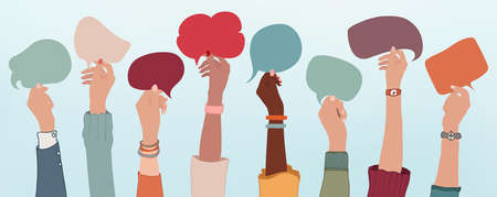 Group of multiethnic business people with raised arms holding speech bubble in hand. Colleagues from different races and cultures. Cooperate and collaborate. Teamwork and success concept