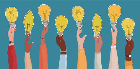Raised arms of diverse and multi-ethnic business people holding a light bulb shaped label as a concept of innovation or startup or collaboration or financial investment. Иллюстрация