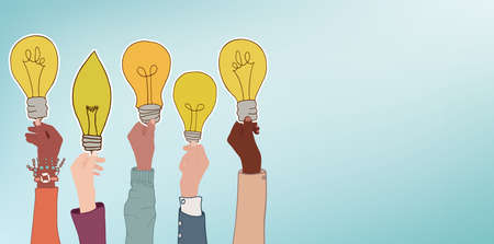 Arms of multicultural business men and women holding a label that forms a light bulb. Concept of aspiration and achievement in the workplace. Brainstorming. Innovation concept. Community