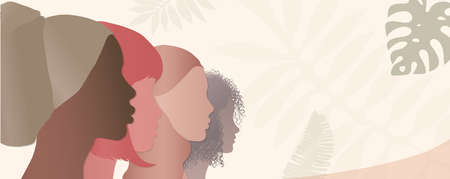 Silhouette group of diverse and multicultural women. Concept of racial equality. Communication between women. Female community or social network. Allyship.Share and talk.Banner copy space