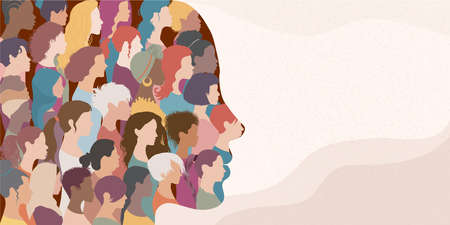 Woman face silhouette in profile with group of multicultural and multiethnic women faces inside.Concept of racial equality anti-racism and a woman who gives voice to other women. Allyship